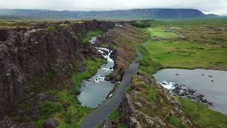 Beautiful-aerial-of-the-mid-Atlantic-ridge-running-through-Thingvellir-Iceland-4