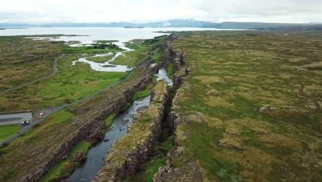 Beautiful-aerial-of-the-mid-Atlantic-ridge-running-through-Thingvellir-Iceland-10