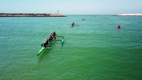 Aerial-over-outrigger-canoes-racing-in-a-rowing-race-on-the-Pacific-ocean-near-Ventura-California-1