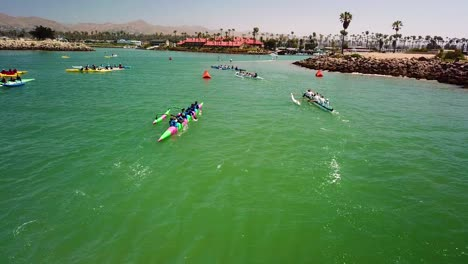 Aerial-over-outrigger-canoes-racing-in-a-rowing-race-on-the-Pacific-ocean-near-Ventura-California-2