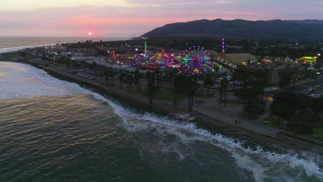 Sunset-aerial-over-a-large-county-fair-and-fair-grounds-with-ferris-wheel-Ventura-County-Fair-1