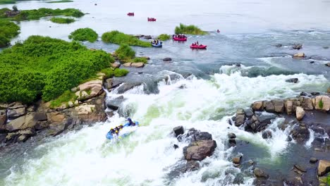Aerial-over-rafters-whitewater-rafting-on-the-Nile-River-in-Uganda-Africa
