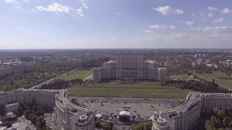 High-aerial-over-the-Palace-of-the-Parliament-in-Bucharest-Romania