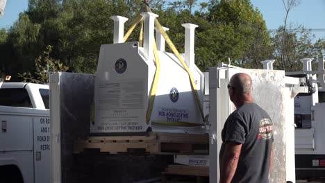 Secure-Ballot-Drop-Boxes-Drop-Off-Box-Is-Moved-Into-Position-By-Workers-In-Santa-Barbara-California-Prior-To-Us-Presidential-Elections
