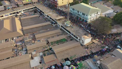 Very-Good-Aerial-Over-West-African-Street-Market-In-Gambia-Passes-For-Guinea-Bissau-Sierra-Leone-Nigeria-Ivory-Coast-Or-Liberia