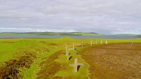 An-aerial-shot-over-sacred-Celtic-stones-on-the-Islands-of-Orkney-in-Northern-Scotland-1
