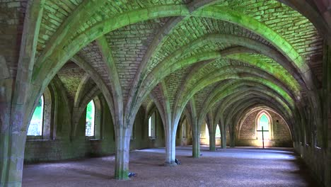 The-beautiful-arched-interior-of-Fountains-Abbey-in-England