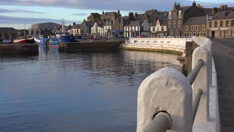 A-nice-establishing-shot-of-the-harbor-of-a-small-fishing-town-in-Northern-Scotland