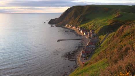 A-small-Scottish-coastal-fishing-village-at-sunset