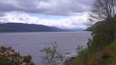An-establishing-shot-of-Loch-Ness-castle-Scotland-as-a-storm-approaches