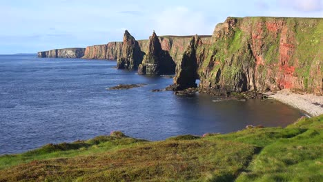 Establishing-shot-of-the-beautiful-Duncansby-Head-sea-stacks-in-Northern-Scotland