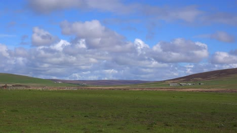 Wide-shot-of-the-green-fields-of-the-Orkney-Islands-of-Scotland