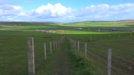 Wide-shot-of-the-green-fields-of-the-Orkney-Islands-of-Scotland-1