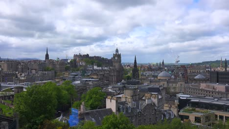 A-beautiful-time-lapse-shot-of-clouds-over-the-Edinburgh-Scotland-skyline-