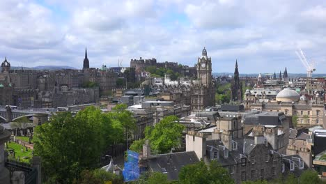An-establishing-shot-of-clouds-over-the-Edinburgh-Scotland-skyline-