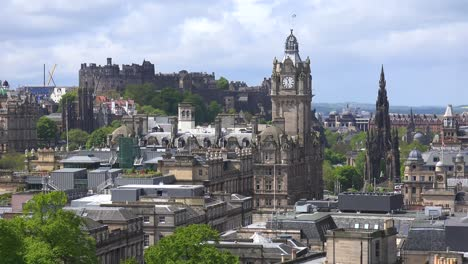 An-establishing-shot-of-clouds-over-the-Edinburgh-Scotland-skyline-1