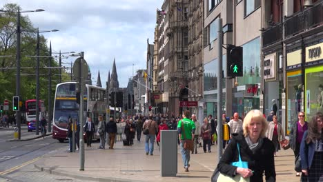 An-establishing-shot-of-people-walking-on-the-streets-of-the-Edinburgh-Scotland-1