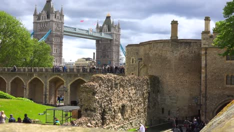 The-Tower-Bridge-in-London-England-is-seen-from-the-perspective-of-the-Tower-Of-London