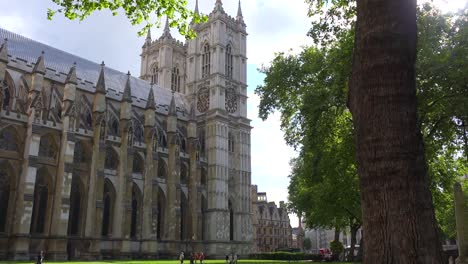 A-nice-establishing-shot-of-Westminster-Abbey-in-London-England