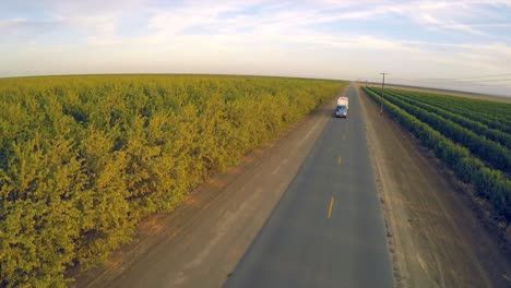 An-aerial-view-over-a-truck-passing-over-almond-orchards