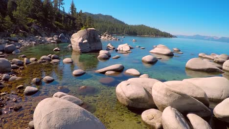 An-aerial-shot-over-beautiful-boulders-in-Lake-Tahoe-Nevada