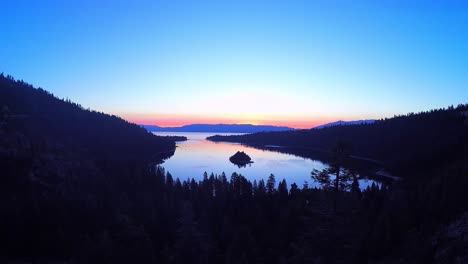 A-beautiful-aerial-shot-at-dawn-over-Emerald-Bay-Lake-Tahoe