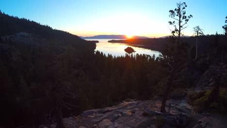 A-beautiful-aerial-shot-at-dawn-over-Emerald-Bay-Lake-Tahoe-2