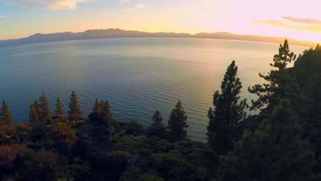 A-beautiful-aerial-shot-at-dawn-over-Lake-Tahoe