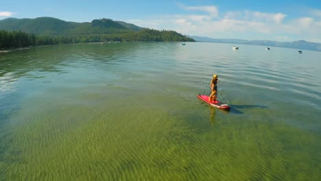 An-aerial-shot-of-a-woman-and-her-dog-paddle-boarding-on-Lake-Tahoe-4