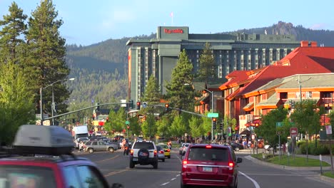 An-establishing-shot-of-South-Lake-Tahoe-California