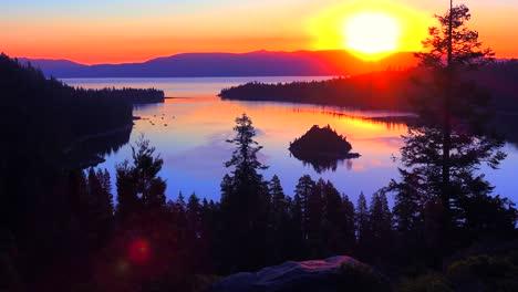 A-beautiful-sunrise-establishing-shot-of-Emerald-Bay-at-Lake-Tahoe