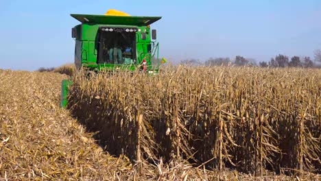 A-harvester-moves-through-cornfields-at-harvest-time-in-rural-America