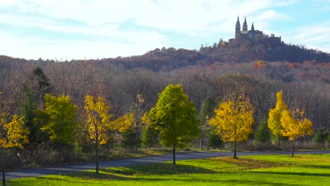 Nice-establishing-pan-shot-of-Holy-Hill-a-remote-monastery-in-rural-Wisconsin-3