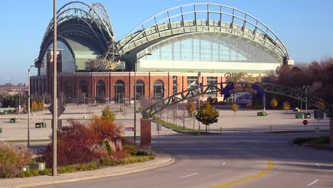 Establishing-shot-of-Miller-Park-home-of-the-Milwaukee-Brewers