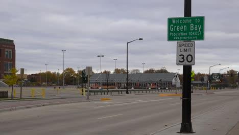 Establishing-shot-of-sign-welcoming-visitors-to-Green-Bay-Wisconsin