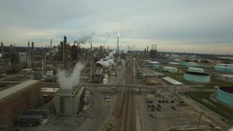 Excellent-aerial-over-huge-industrial-oil-refinery