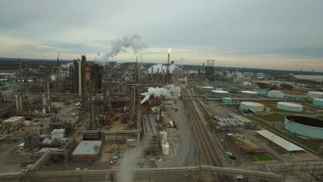 Excellent-aerial-over-huge-industrial-oil-refinery-1