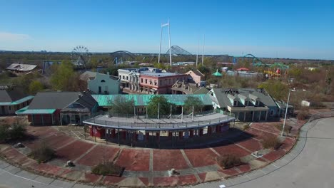 Rising-aerial-shot-over-an-abandoned-and-decaying-theme-park
