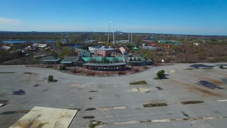 Aerial-shot-over-an-abandoned-and-decaying-theme-park