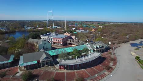 Aerial-shot-over-an-abandoned-and-decaying-theme-park-1