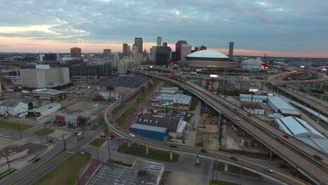 High-angle-vista-aérea-shot-reveals-the-New-orleans-Louisiana-skyline-with-Superdome-in-foreground-1