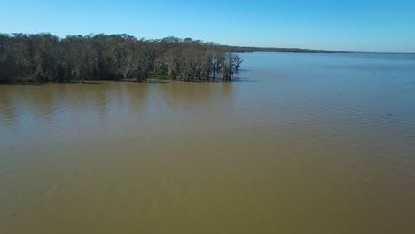 An-aerial-stationary-shot-over-the-Louisiana-bayou-and-mangrove-swamps
