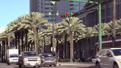 A-red-New-Orleans-streetcar-travels-through-the-downtown-area