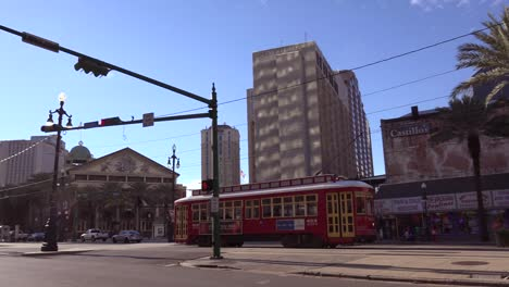 A-red-New-Orleans-streetcar-travels-through-the-downtown-area-1
