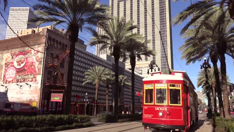 A-red-New-Orleans-streetcar-travels-through-the-downtown-area-2