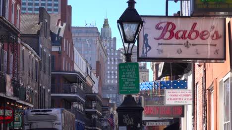 Establishing-shot-of-Bourbon-Street-sign-French-Quarter-New-Orleans-day