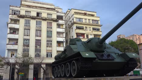 An-army-tank-stands-in-front-of-the-Museum-Of-Revolution-in-Havana-Cuba