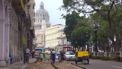 Road-work-along-a-street-in-the-old-city-of-Havana-Cuba