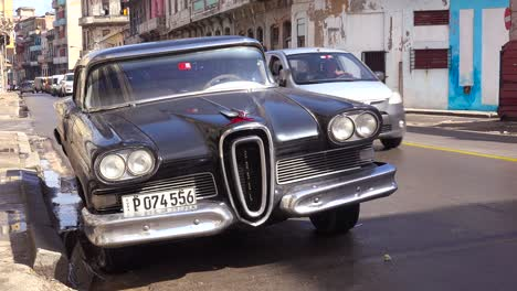 An-old-fashioned-Edsel-car-sits-on-the-streets-of-Havana-Cuba