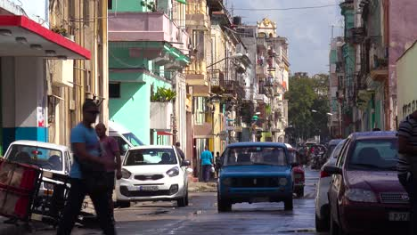 The-narrow-streets-of-Old-Havana-Cuba-with-classic-car-foreground-1